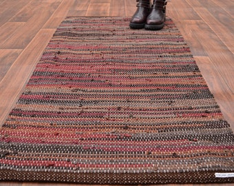 Handwoven Rug - 27x50 woven from Recycled T Shirts-Brown, Caramel, Brick Red, Taupe.  Washable & Reversible