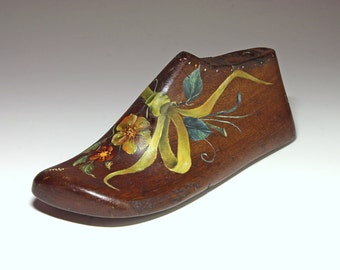 Vintage Wooden Child's Shoe Form, Tole Painted  - early 20th Century