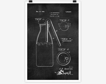 Patent Art Milk Bottle Cap, 1925 - Large Patent Art Print Print Patent Art Print Wall Decor Vintage Art Patent Print Wall Hanging 02.