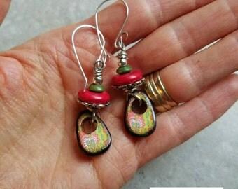 Juicy Drops Earrings, pink and green, watermellon, wood tile, boho, jlynn jewels, sterling silver, resin, wood beads, colorful, dangle, nice