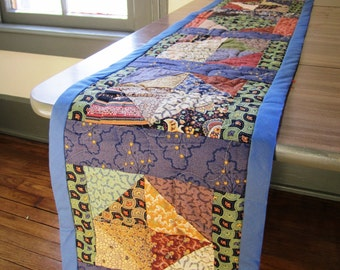 Table Runner Patchwork Quilt Reversible Country Rustic Primitive Blue – 66.5 x 9.5 inches