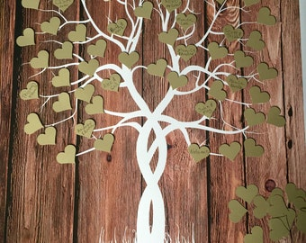 Guestbook Tree, Guest Book Weeding Tree, Wood Tree Guestbook alternative with cut out adhesive hearts, signature tree, guestbook tree print