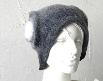 Grey white hat, Felt hat, merino wool hat, warm hat, Original warm accessory Great gift idea