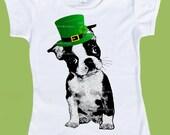 St.Patricks Day, Boston Terrier shirt, Green Hat,Baby Boys clothes,Girls Clothes, Birthday Theme, Cake Smash Birthday shirt, ChiTownBoutique