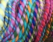 Handspun Art yarn hand spun hand dyed bulky knitting supplies crochet supplies Waldorf doll hair wool merino