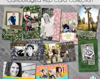 SALE Camouflaged Senior Rep/411 Cards- custom photo templates for photographers on WHCC and Miller's Lab Specs