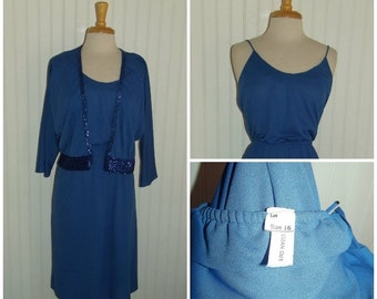 Sale Valentines 1970s does 1920s,  Dress with Sequined Jacket, Elastic Waist, Blue, Size Medium, #45495