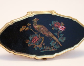 Vintage lipstick holder. Stratton lipview. Black with peacock