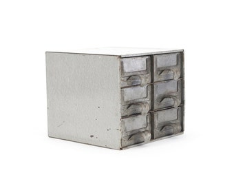 vintage industrial silver small metal 6-drawer unit