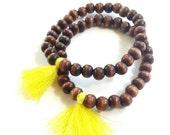 Wood tassel bracelet //Tassel bracelets/mala bracelets//mini tassel boho bracelets//bohemian festival bracelet//Friendship bracelet