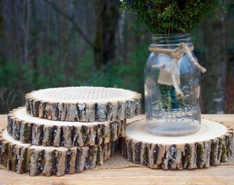 4 WOOD SLICES - Natural Tree Slices - Perfect for Rustic Wedding Table Centerpieces - Candle Holders