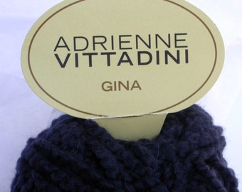 Adrienne Vittadini Gina Yarn, Super Bulky Novelty Yarn, Lumpy Bumpy in Deep Navy Blue for Knitting, Crochet, Wool Blend, Will Felt