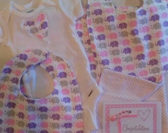Baby Flannel Newborn Layette Set Elephants and Polka Dots Onesie Bibs Blanket Nursery Gift Ready to Ship