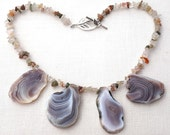 Statement Raw Stone Necklace, Agate Slab Necklace. Natural Neutral Beige Gray Brown Large Agate Slices, Semiprecious Untreated Agate Luxury