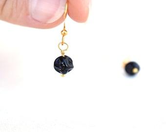 Summer Outdoors Tiny Black Earrings Black Bead Earrings Modern Black Glass Earrings Black Dangle Earrings Black Drop Earrings