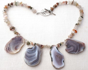 Summer Outdoors Statement Necklace Raw Stone Necklace Agate Slab Necklace Natural Agate Slices Semiprecious Untreated Agate Luxury