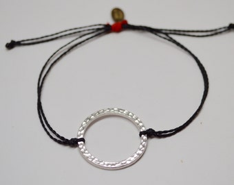 Circle Bracelet, Silver Circle Bracelet, Adjustable Circle Bracelet