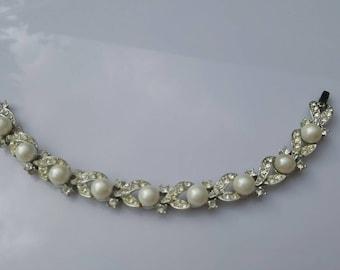 Lisner Pearly Rhinestone  Bracelet Wedding Ready