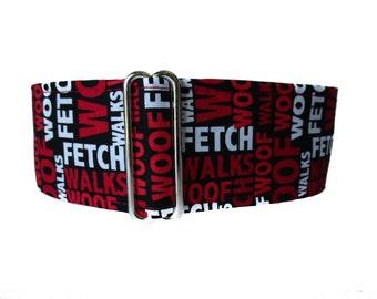 2 Inch Martingale Collar, Red Martingale Collar, Red Dog Collar, Dog Words Dog Collar, Large Dog Collar, Custom Dog Collar, Greyhound Collar