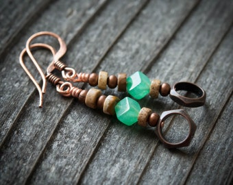 Sea Green Rustic Earrings