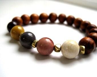 Moukite Jasper Beaded Stretch Bracelet / Narra  Wood Beaded Bracelet / Natural Stone & Rosewood Bracelet