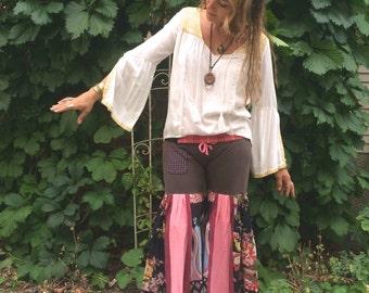 Patchwork Eco hooper Pants,Size L/XL,hippie pants,flare pants, dance pants,festival pants,patchwork pants,wide leg pants,flower brown, Zasra