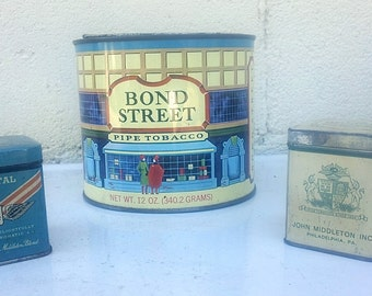 Vintage TOBACCO Tins - TRIO of Collectible Pipe Tobacco tins, Bond Steet, Regimental, John Middleton