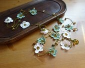 Handmade  Crochet Small Beaded Flower Garland .