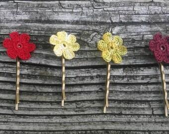 Crochet flower hair pin,hair accesories,bridal hair pin