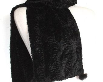 Vintage 1940's Scarf // 40s 50s Black Faux Persian Lamb Winter Scarf with Mink Fur Pom Poms // DIVINE