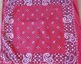 "Vintage Red  Bandana Scarf /100% Cotton USA Made ""Paris"" RN 13960"