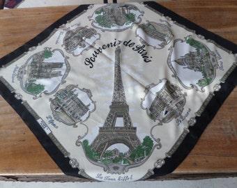Vintage Paris Souvenir Scarf // Roger L. Paris // Eiffel Tower // France Souvenir
