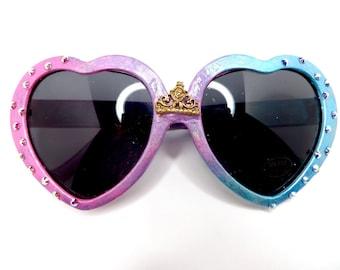 Disney Princess Aurora Sleeping Beauty Inspired Heart Shaped Sunglasses With Crown