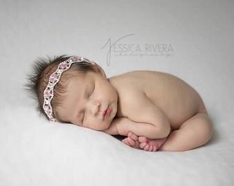Pink  headband - rhinestone headand - diamond headband - newborn headband - girls headband - luxe couture headband - photo prop