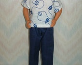 """Handmade 12"""" male fashion doll clothes - white and blue nautical outfit"""