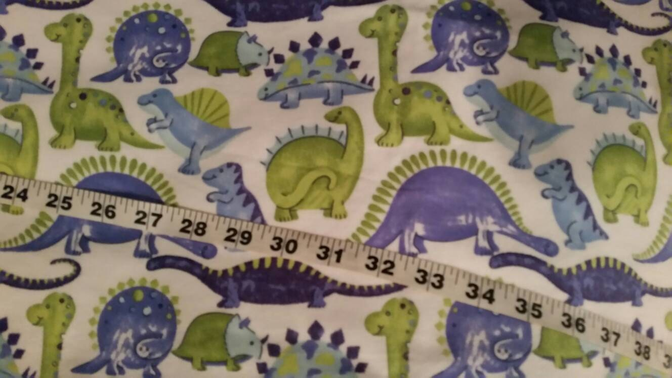 Dinosaur flannel fabric for kids blue green cotton print quilt for Dinosaur fabric
