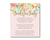 Please Bring a book insert, Floral Baby Shower, Baby Shower Book Insert, Invitation Insert - Instant download  0501