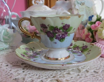 Vintage Teacup and Saucer Set-Violets-Lefton