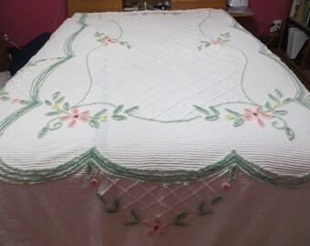 Vintage Chenille Bedspread-Floral-Cutter-Craft