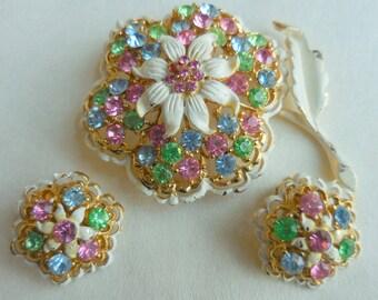 VINTAGE Enamel and RHINESTONE FLOWER Brooch and Earrings