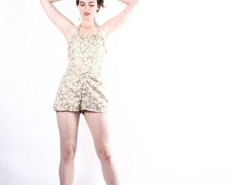 SALE 65% OFF ends 02/16 Vintage 50s Gold Bathing Suit   - Vintage Bathingsuits - 50s Swimsuit  - The All that Glitters Swim Suit - 6168