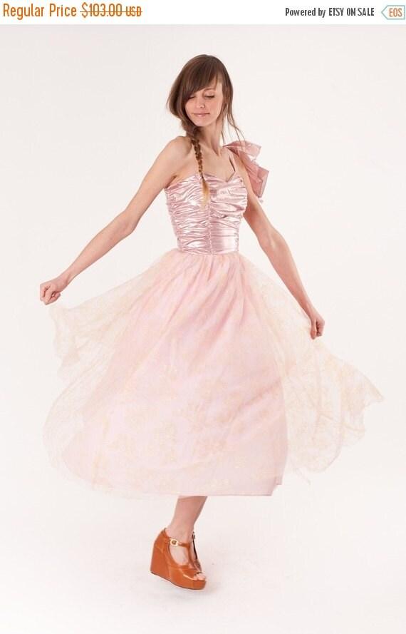 SALE 65% OFF ends 02/16 Metallic / Dress / 1980s Dress / Party Dress / Pink Dress / Prom Dress / Wedding Dress / Lame / 0264