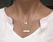 Set of two,double strands cross Bar necklace, Bar Monogram Necklace,Cross bar necklace,Initial Rectangle necklace,