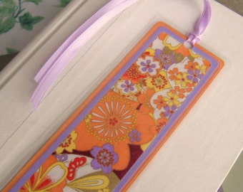 Laminated Bookmark in Orange and Light Purple Floral Japanese Washi