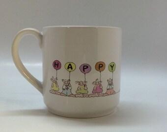 Vintage Happy Birthday Mug by Yolanda Nave 1987