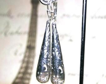 ON SALE Bohemian Bar Earrings in Sterling Silver - Long Boho Teardrop Earrings - Silver Filigree - Sterling Silver Leverbacks