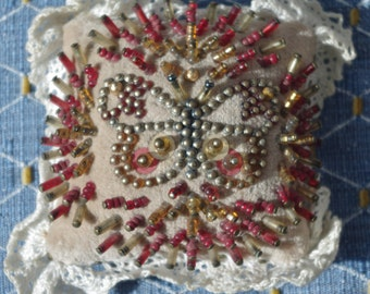 ANTIQUE - Embroidery, Sewing Pin Cushion with Butterfly design - c1920s