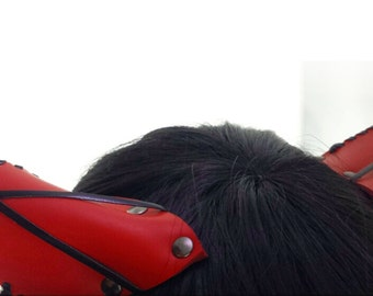 Easy Clip In Cat Ears *Neko Ears* in Red Leather with white sheeps fur ear tuff, leather stitching and cross accent
