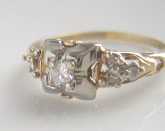 Art Deco Engagement Ring Antique Wedding Ring With Solitaire and Accent Diamonds – Est. 20 Point TCW Size 5.75