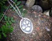 I Wear Your PawPrint on my Heart - Sterling Pendant - Your Pet's Actual Pawprint